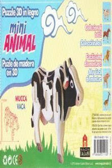 Vaca mini animal puzle de madera en 3d