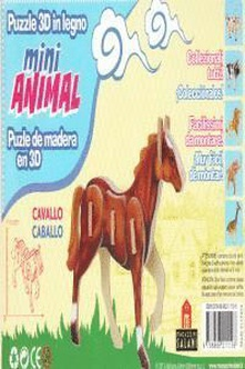 Caballo mini animal puzle de madera en 3d