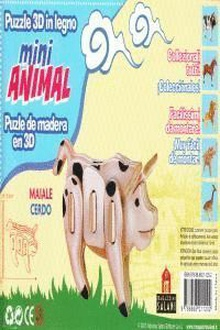 Cerdo mini animal puzle de madera en 3d